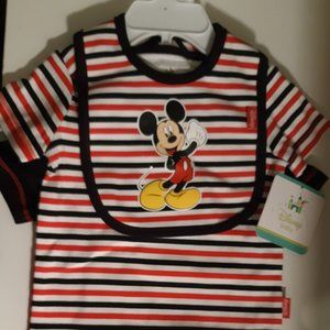 3pc 3/6 months Baby boy Mickey Mouse onesie set